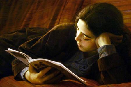 """Grupo Literario """"El Aprendiz de Brujo"""" / """"Estudiando"""" - Pintura © Iman Maleki"""