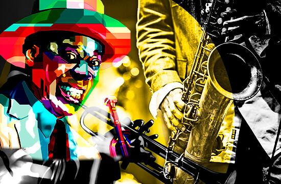 Montaje de ilustraciones y fotos relacionadas con el jazz