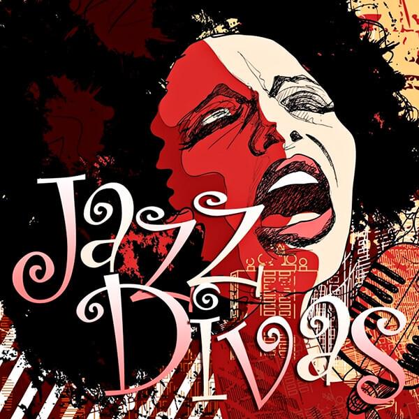 Ilustración de mujer afro cantando y con el título «Jazz Divas»