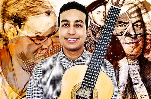 Montaje con imágenes de Antonio Lauro, Juan Carmona, Luis de Narváez y J. S. Bach
