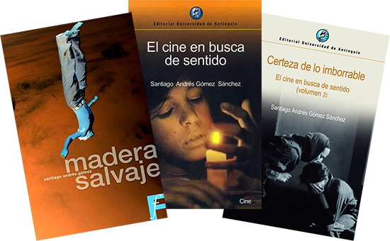 Tres portadas de libros de Santiago Andrés Gómez