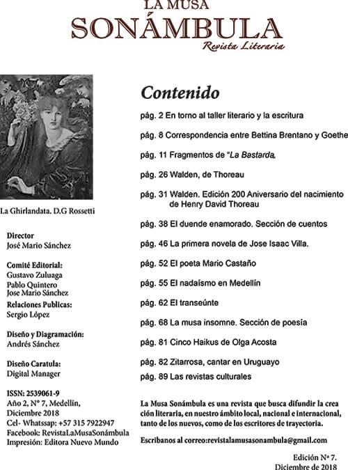 Índice de la revista «La Musa Sonámbula» n.º 7