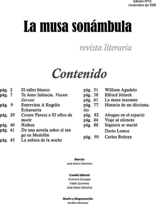 Tabla de contenido de la revista literaria «La Musa Sonámbula» n.° 12