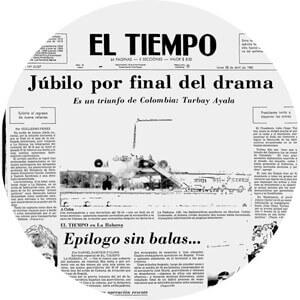 Facsímil de un artículo en el periódico «El Tiempo» sobre la toma del M-19 a la Embajada de la República Dominicana