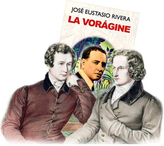 Portada de «La vorágine» de José Eustasio Rivera e ilustración de los hermanos Grimm