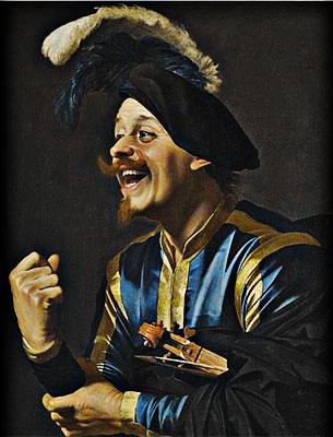 """A Laughing Violinist"" por Gerrit Van Honthorst"