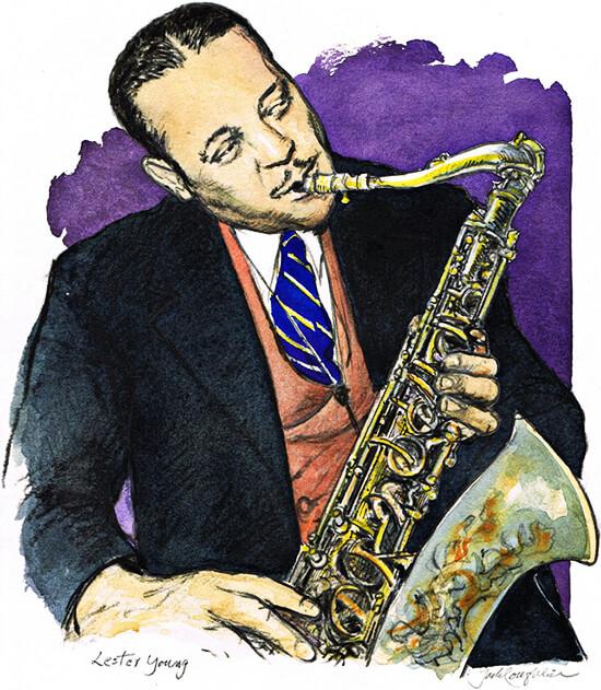 Lester Young - Ilustración © Jack Coughlin