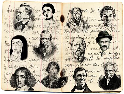 Libreta de Fernando González con algunos de los escritores que le agradaban