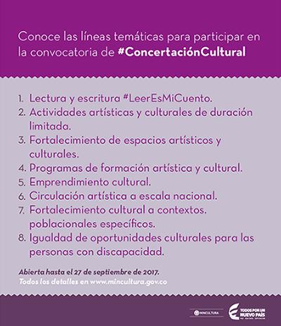 Líneas temáticas de la Concertación Cultural del Ministerio de Cultura de Colombia 2017