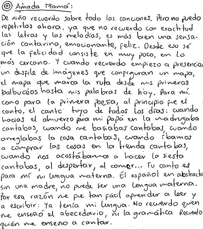 Carta de José Ignacio C. publicada en el libro «Lo que mi voz leía - Cartas» - Compiladores Javier Naranjo Moreno y Orlanda Agudelo Mejía