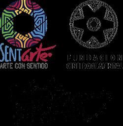 Logos de SentiArte, Fundación Cine Documental y Distrito Pacífico