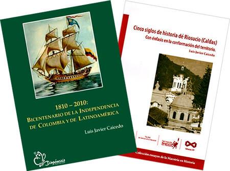 Portadas de dos libros de Luis Javier Caicedo