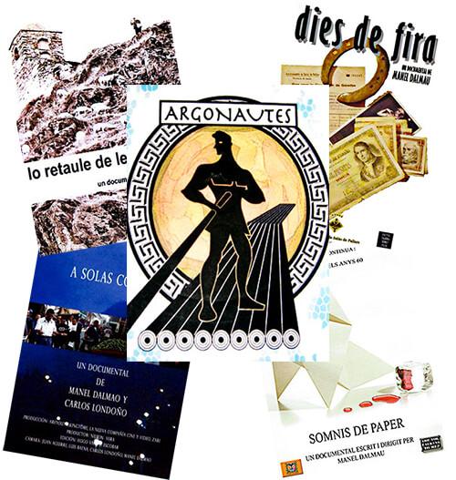 Mosaico de afiches de algunos documentales de Manel Dalmau Etxalar