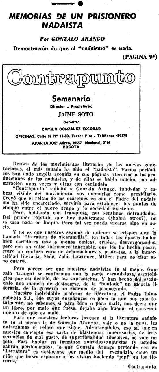Nota editorial de la revista Contrapunto sobre las «Memorias de un presidiario nadaísta» de Gonzalo Arango
