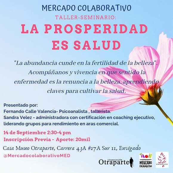 Afiche de invitación al Taller «La prosperidad es salud»