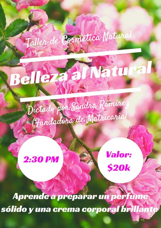 Afiche de invitación al Taller «Cosmética Natural»