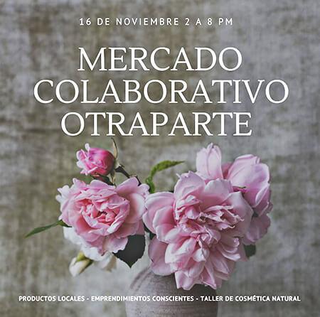 Afiche de invitación al Mercado Colaborativo y Taller «Cosmética Natural»