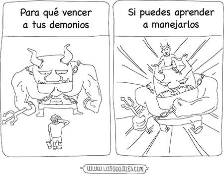 Ilustración del libro «Mevlana - El cielo en mi vida» de Patricia Eugenia Roldán R. - El texto dice: «¿Para qué vencer a tus demonios si puedes aprender a manejarlos?».