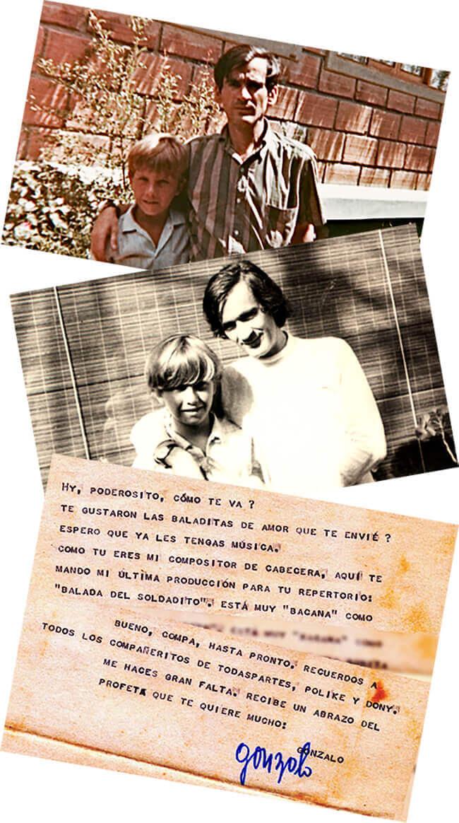 Dos fotos de Michael Smith y Gonzalo Arango y una carta de Gonzalo a Michael