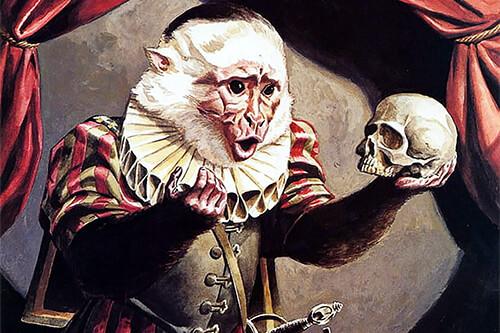 Ilustración de un mico interpretando a Hamlet y con un cráneo en la mano