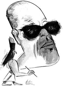 Naguib Mahfuz - Ilustración por Julio Cebrián