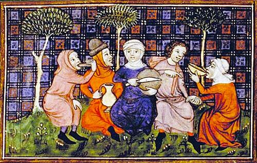Pintura de reparto de pan entre campesinos, «Livre du Roi Modus et de la Reine Ratio», Francia, siglo XIV (Bibliothèque nationale de France).
