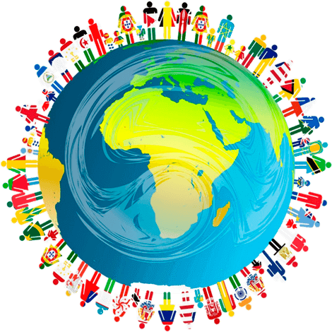 Ilustración de seres humanos de todas las nacionalidades sobre el planeta Tierra