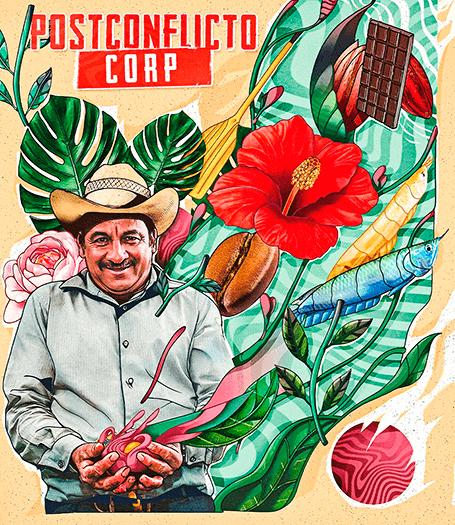Afiche de la serie documental «Postconflicto Corp.» de Felipe Martínez
