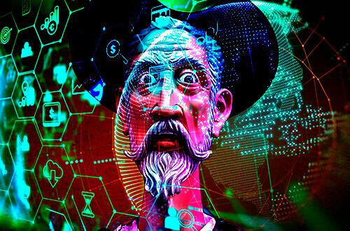 El Quijote sobre un fondo digital