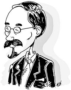 Rafael Pombo Rebolledo (1833-1912) - Caricatura de Alberto Arango Uribe
