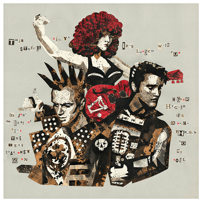«Torn to Pieces by Rock'n'Roll» - Collage © MadTwinsArt