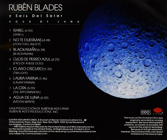 Contraportada del disco «Agua de luna» de Rubén Blades y Seis del Solar