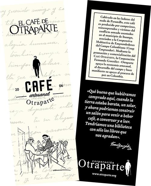 Separador de libros para promocionar el Café Otraparte