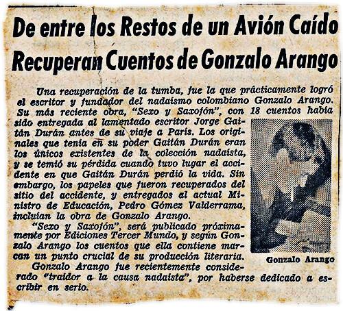 De entre los restos de un avión caído recuperan cuentos de Gonzalo Arango