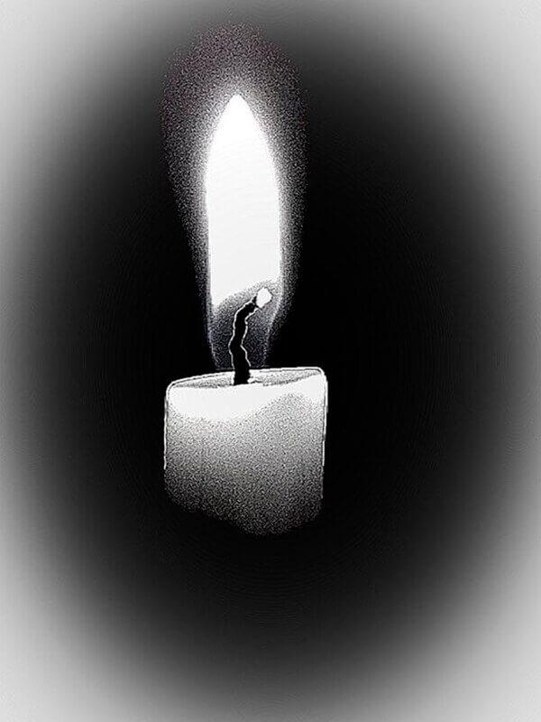 Ilustración de una vela encendida