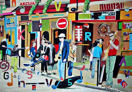 Ilustración de músicos callejeros por Katarina Radenkovic