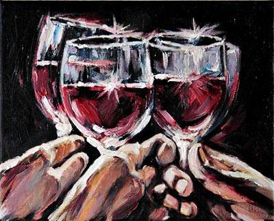 """Three Red Wine Glasses"" por Anastassia   ArtFire.com"