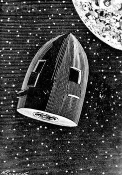 """Ilustración de la edición de 1872 de """"De la Tierra a la Luna"""" de Julio Verne"""