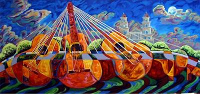 """""""Serenata desde el puente Los Fundadores"""" (óleo) por Raúl Toro - Corporación Encuentro Nacional del Tiple"""