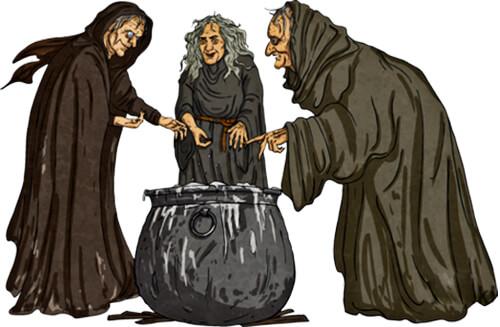 Ilustración de tres brujas y una marmita