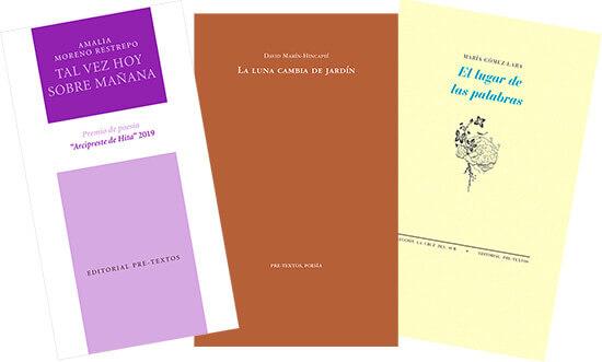 Portadas de tres libros publicados por la Editorial Pre-Textos