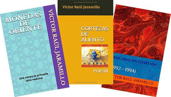 Tres portadas de libros de Víctor Raúl Jaramillo