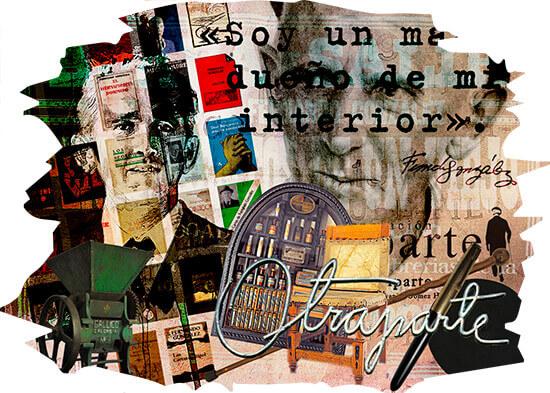 Collage con imágenes de Fernando González y objetos de la Casa Museo Otraparte