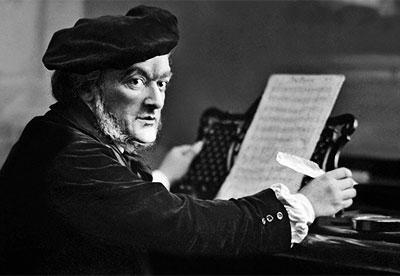 Richard Wagner en el piano con partitura
