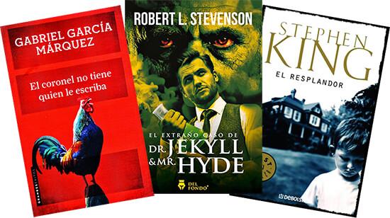 Portadas de los libros «El coronel no tiene quien le escriba», «El extraño caso del doctor Jekyll y míster Hyde» y «El resplandor»