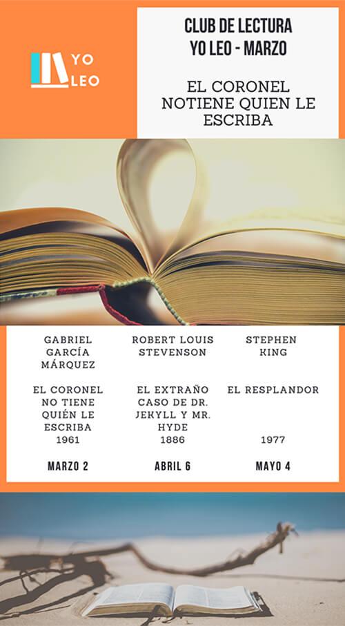 Afiche del Club de Lectura «Yo leo» de marzo de 2020
