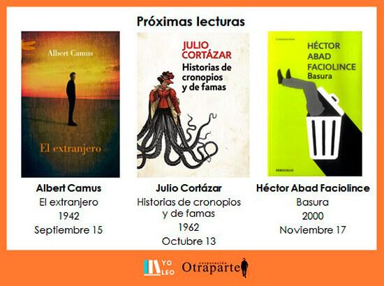 Próximas lecturas del Grupo de Lectura «Yo leo» - Septiembre - Noviembre de 2020